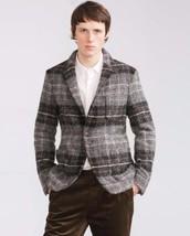 Nwt Zara Man Grey Checked Wool Studio Alpaca Blazer Jacket s.52 REF.7179/351 - $38.79