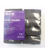 """Diane Soft Foam Cushion Hair Rollers Curlers Extra Large 8pc 1 1/4"""" Black D1919B - $4.50"""