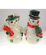 Vintage Christmas snowman snow lady couple salt... - $25.00