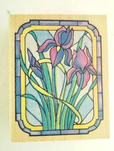 Rubber Stampede Stained Glass Window Iris Flowers Rubber Stamp - $8.82