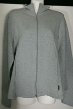 DKNY Donna Karan New York Sweatshirt Large L Jacket Gray Fitted Stretch ... - $18.68