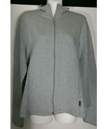 DKNY Donna Karan New York Sweatshirt Large L Jacket Gray Fitted Stretch ... - $18.68
