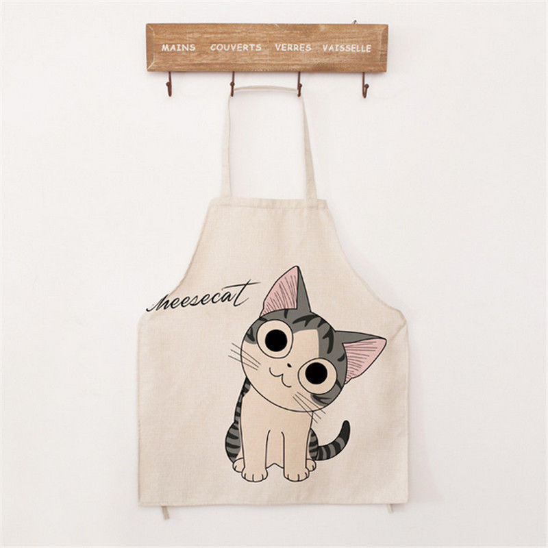 Funny Cartoon Cat Cotton Linen Apron Party Decor BBQ Kitchen Cooking Cloth
