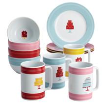12-Piece Set Porcelain Dessert Plates Bowls & Mugs Mini Cakes Pattern Pr... - $50.87