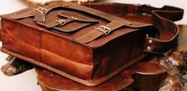 Leather computer bag men's shoulder laptop women briefcase vintage satchel Bags image 2