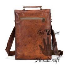Men's leather vintage laptop backpack rucksack messenger bag satchel women bags image 2