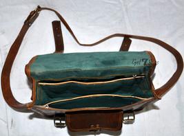 Leather computer bag men's shoulder laptop women men messenger briefcase vintage image 4