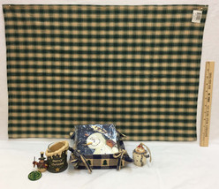 Snowman Votive Candle Holder Fabric Basket w/ Napkins Ornament Dish Towe... - $15.98
