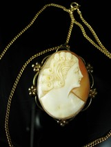 12Kt gold filled Genuine Cameo necklace antique cameo brooch pendant nec... - $175.00