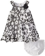 Bonnie Jean Baby Girl 3M-24M Colorblock Floral Print Crystal Pleat Trapeze Dress