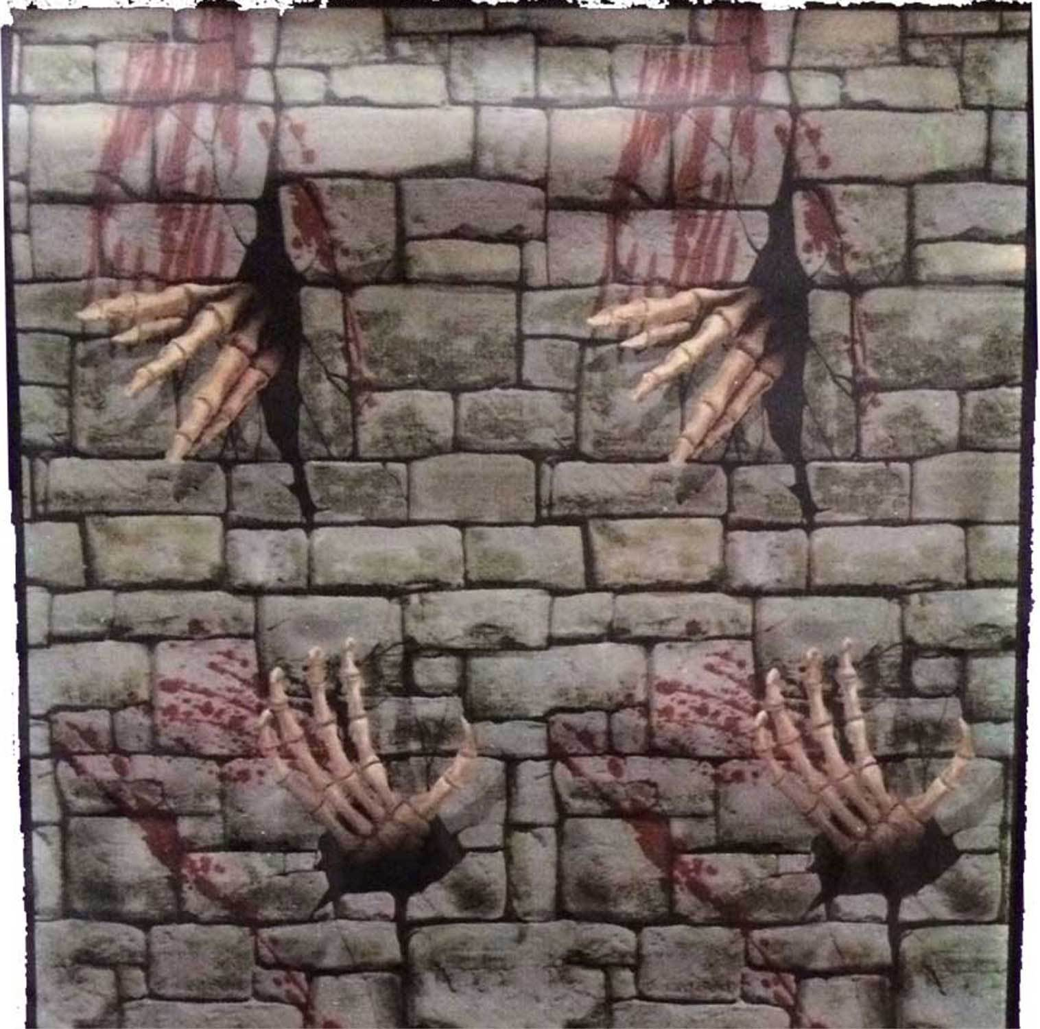 Gothic Dungeon Skeleton Hands Door Cover Stone Wall Poster