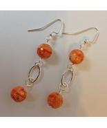 Orange Swirl Ceramic Beaded Earrings Silver Metal Oval Hoop Handmade Pie... - $28.00