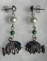 Fish with White and Green Pearls on Surgical Steel Posts Hand Made In USA - $20.00
