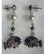 Fish with White and Green Pearls on Surgical St... - $20.00