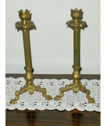 Claw Foot Brass Candle Stick Holders Set Tall V... - $34.97