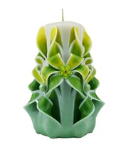 Carved Candles Yellow Green White Paraffin Wax Unscented Free shipping - $32.99
