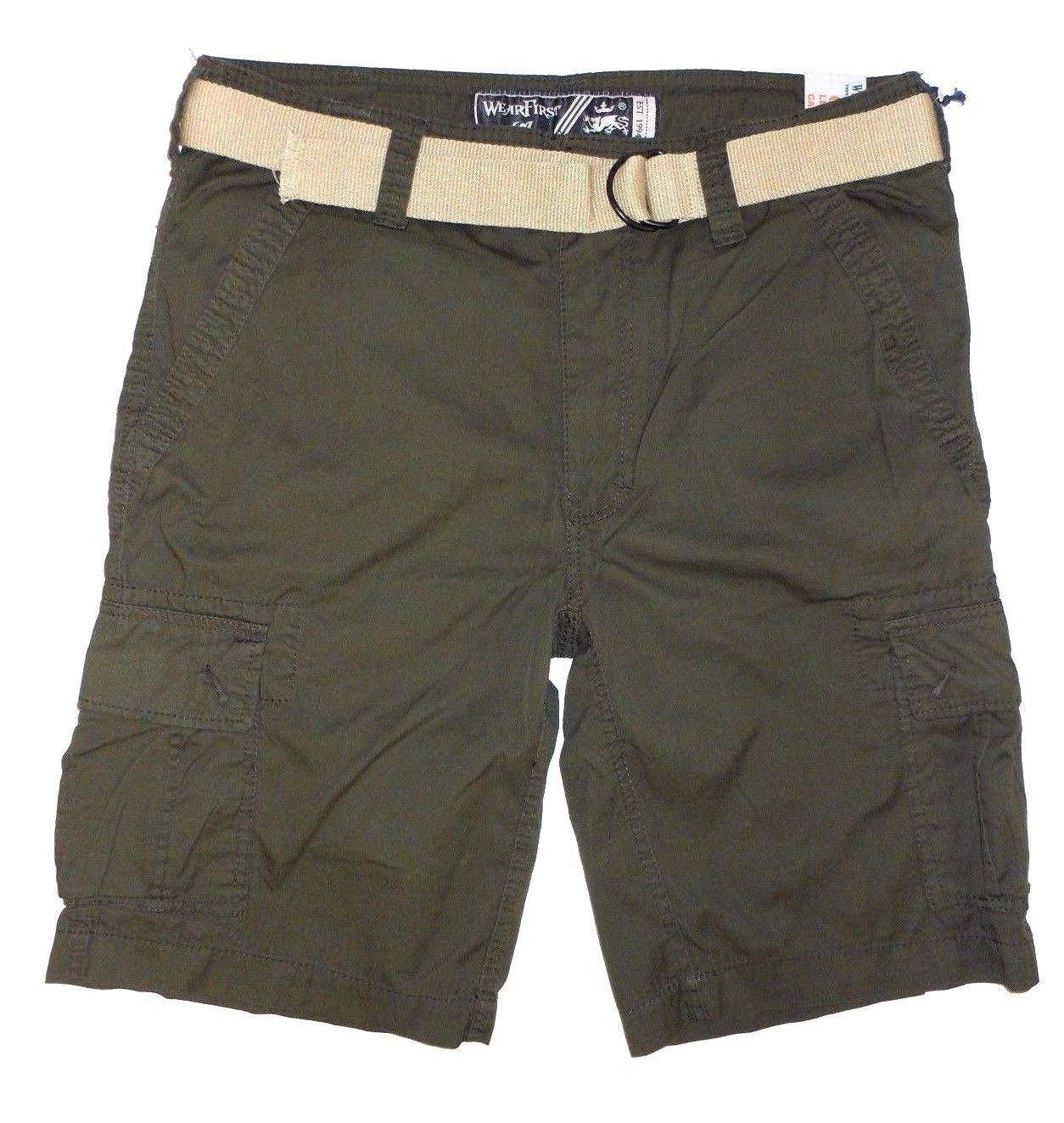 Primary image for Wear First Men's 685 LEGACY Belted Cargo Casual Shorts Olive Stone Sz-34