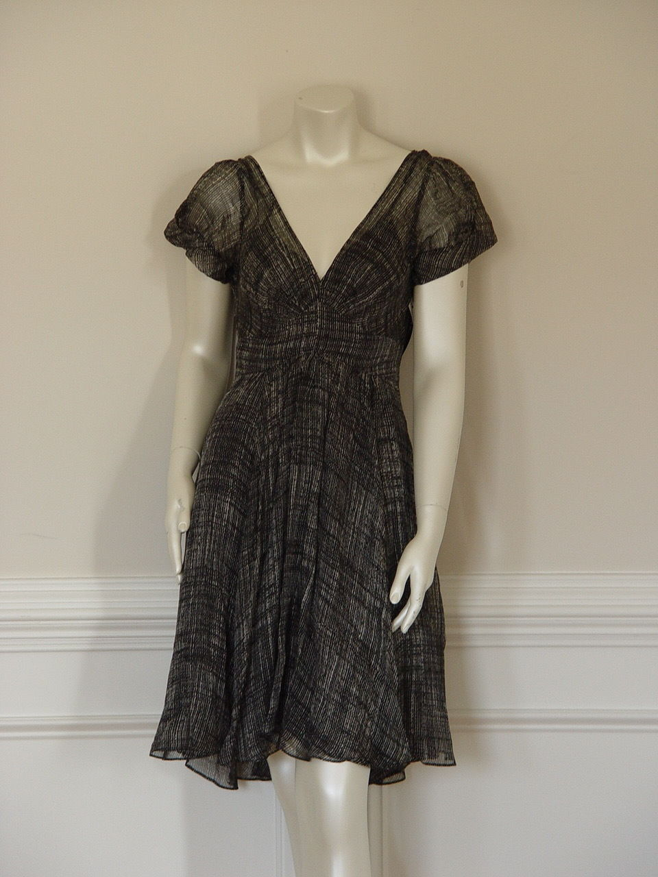 Primary image for DKNY CAP SLEEVE TWEED PRINT COMBO SILK DRESS - US 8 - UK 12