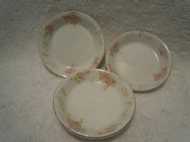 Vintage Set of 3 Gold & Pink Painted Flowers Po... - $3.99