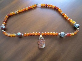 Antique Chinese CARNELIAN AGATE Bead/Cloisonne beads/gold bead Necklace ... - $365.00