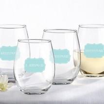 Bridesmaid Something Blue Stemless Wine Glasses - Set of 4 - $49.95