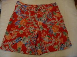 Men's St. John's Bay Swim Trunk Shorts Red Aloha  Size X-Large  NEW  - $29.69