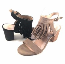 Restricted Kissy Black Suede Leather Thick Heel Ankle Strap Sandals Size 7 - $30.80