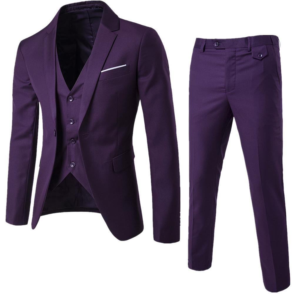 Jacket+Pant+Vest Luxury Men Wedding Suit Slim Fit Costume Business Jacket