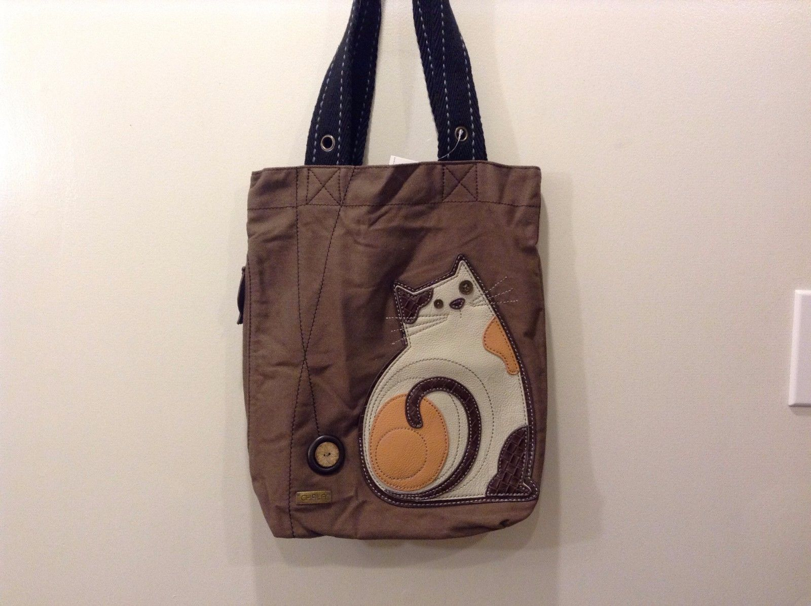 New Chala Handbags Simple Tote Brown Canvas Lazzy Cat Magnetic Closure NWT