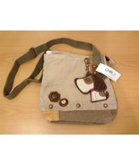 New Chala Handbags Patch Crossbody Sand Canvas Dog Key Chain Fob Zipper Top - $45.00