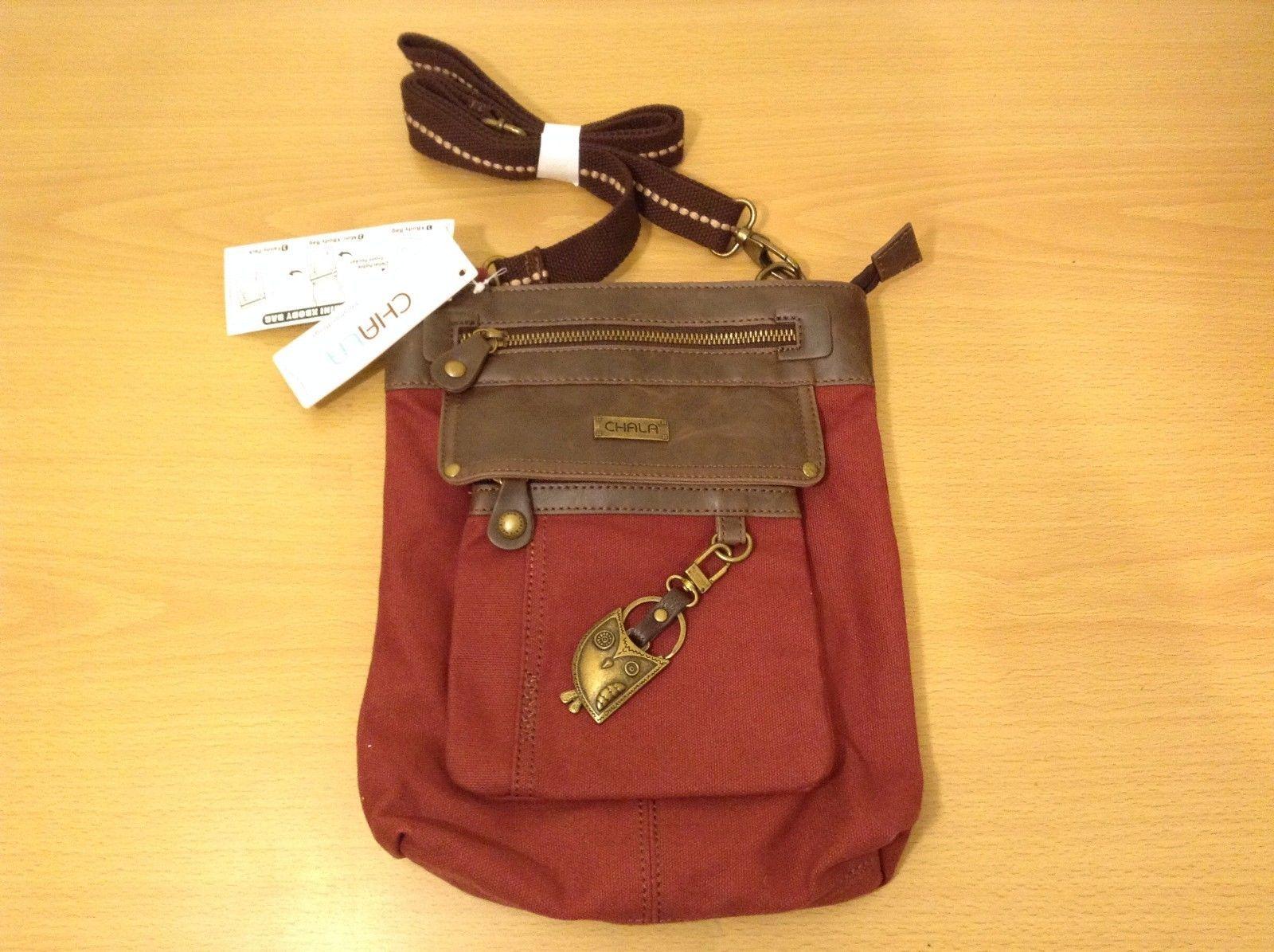 New Chala Handbags Germini Crossbody 3 in 1 Bag Burgundy Canvas Owl Key Chain
