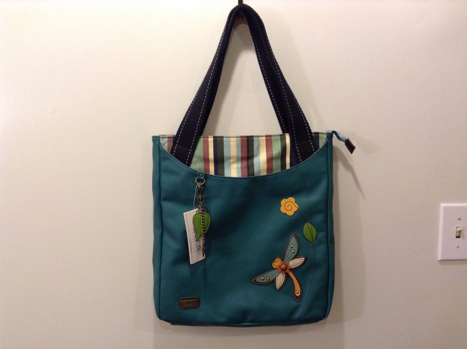 New Chala Handbags Teal Striped Canvas Faux Leather Zip Tote Purse Dragonfly