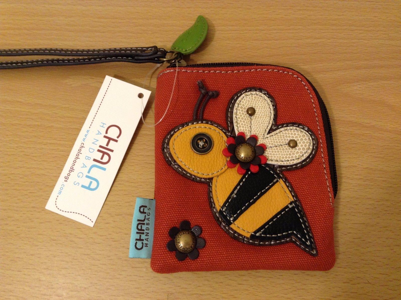 New With Tag Chala Zip Around Wallet Orange Canvas Bee Wristlet