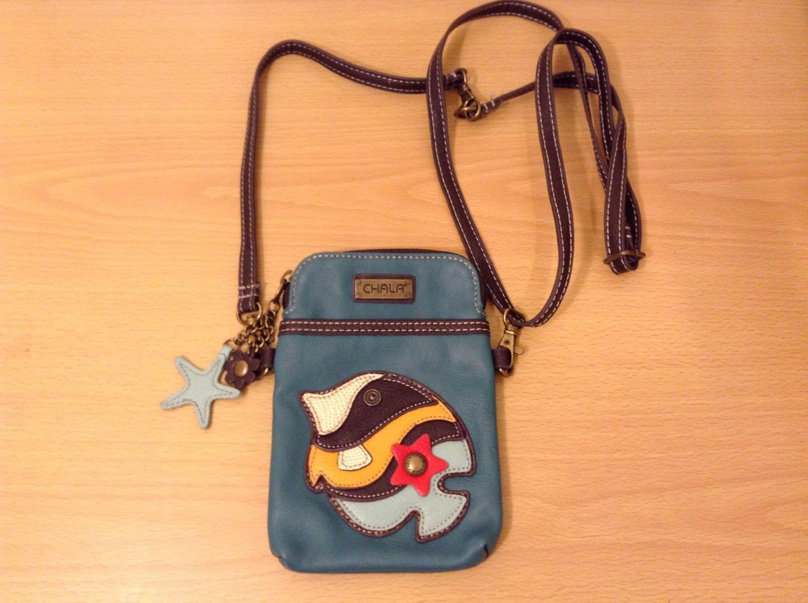 New Chala Handbags Small Crossbody Cell Phone Purse Bag Teal Fish Faux Leather