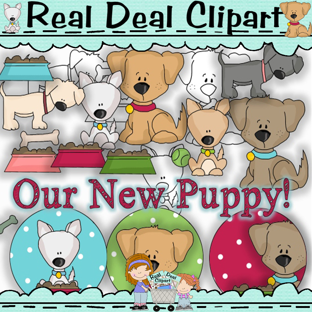 Happy Puppy Clipart with Bonus Lineart