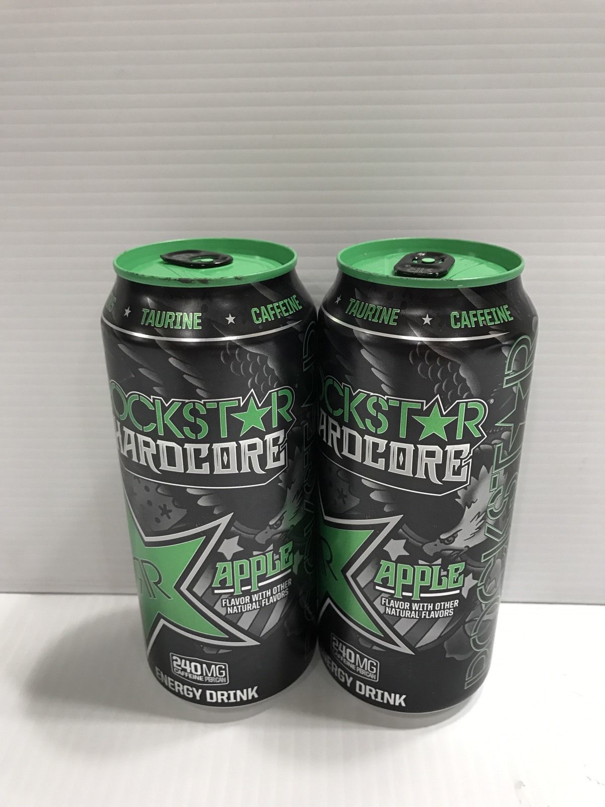 Rockstar Energy Drink Hardcore Apple 16oz Can Pre Release. 2 x Full Cans Lot