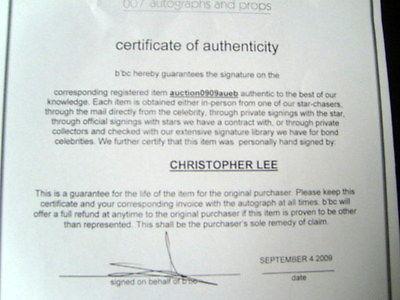 CHRISTOPHER LEE (SCARAMANGA) ORIGINAL AUTOGRAPHED PHOTO
