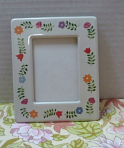 Vintage Terragraphics Ceramic Flower Design Free Standing Table Top Photo Frame - $9.75