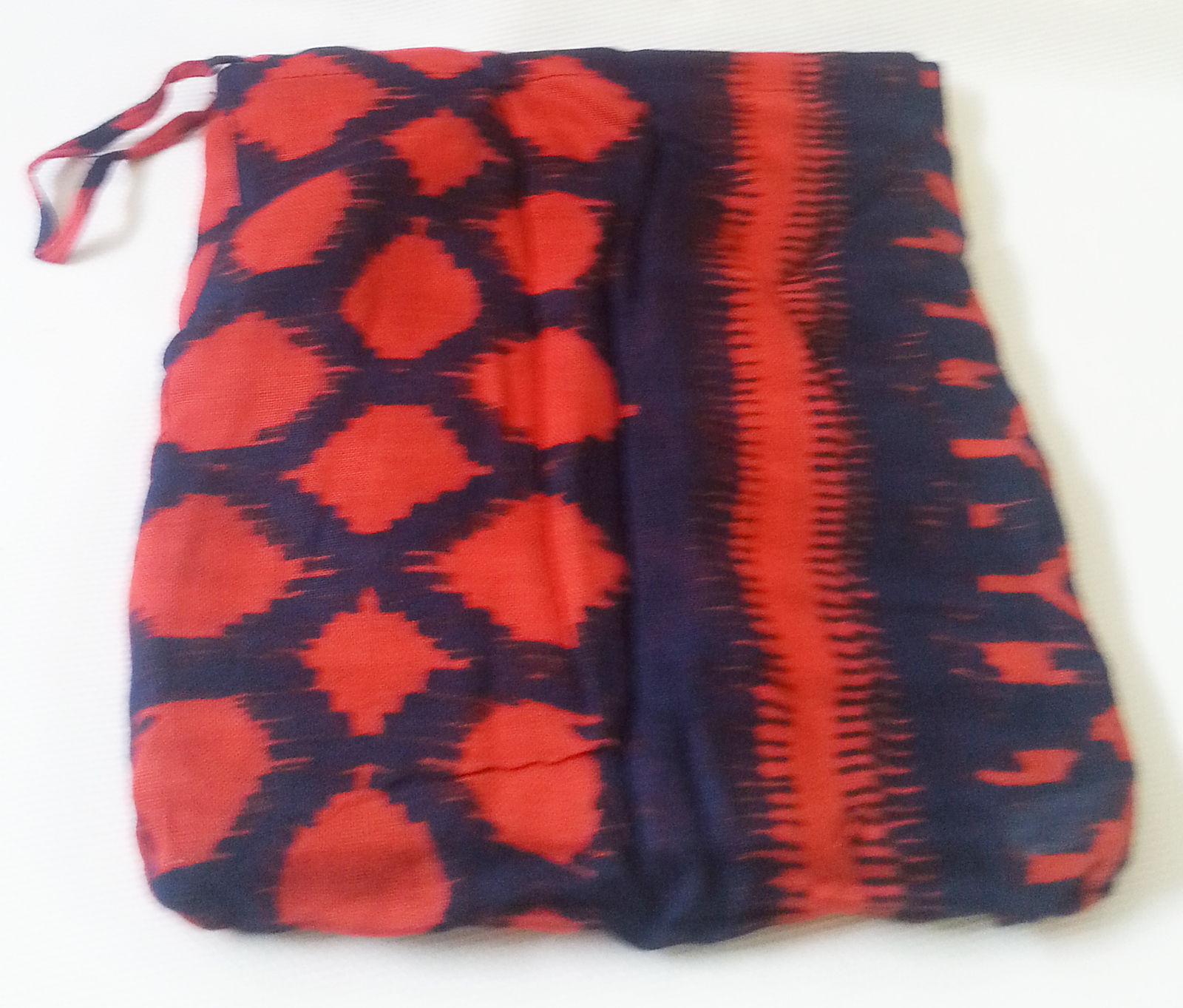 "Stella & Dot Scarf Union Square Marine Blue Rich Red Viscose 38"" x 70"" With Bag"