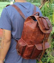 Real genuine men's leather backpack bag laptop briefcase satchel brown vintage image 6