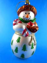 "Snowman Blown 5.5"" Beautiful Glass Christmas Ornament Excellent condition - $6.23"