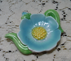 Vintage Blue Flower Tea Pot Tea Bag Holder // Spoon Rest - $6.00