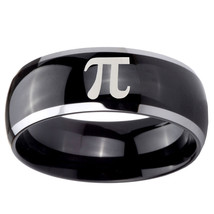 8mm Dome Black Glossy Middle Math Pi Two Tone Tungsten Carbide Ring Sz 7-14 - $34.99