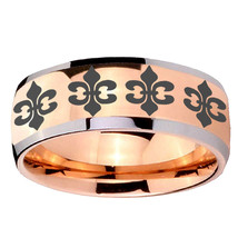 8mm Dome Multiple_Fleur De Lis Rose Gold IP Tungsten 2 Tone Ring Sz 7-14 - $39.99