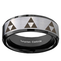 8mm Multiple Zelda Triforce Tungsten Silver Black Beveled Two Tone Ring ... - $39.99