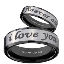 8mm I Love You Forever and ever Tungsten Silver Black Bevel 2 Tone Ring ... - $34.99