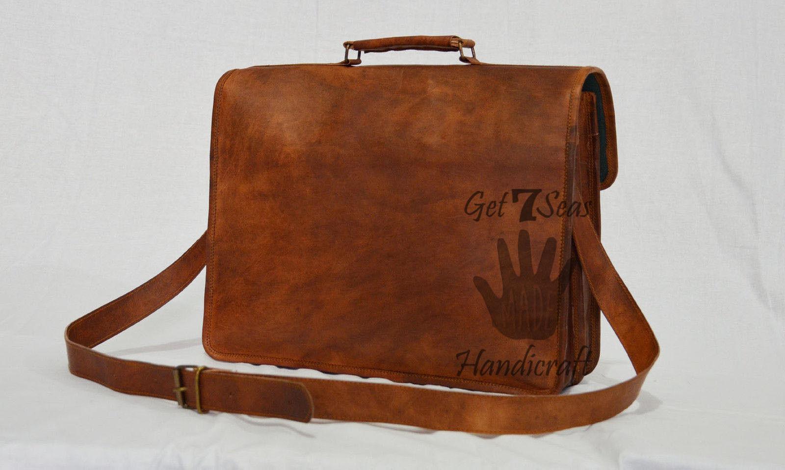 Leather computer bag men's shoulder laptop women briefcase vintage satchel Bags image 3