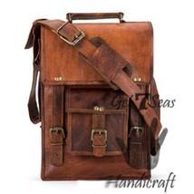 Men's leather vintage laptop backpack rucksack messenger bag satchel women bags image 4