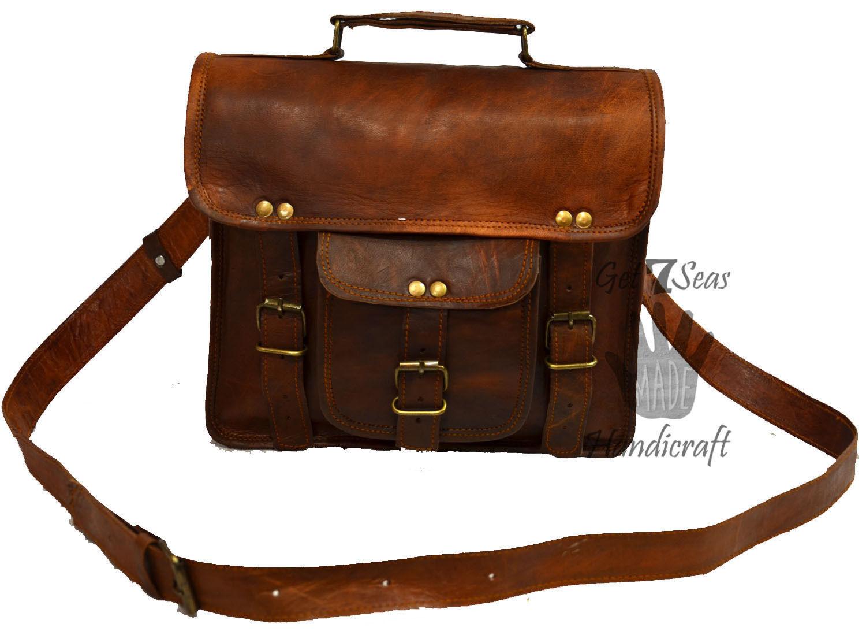 Leather computer bag men's shoulder laptop women men messenger briefcase vintage image 5