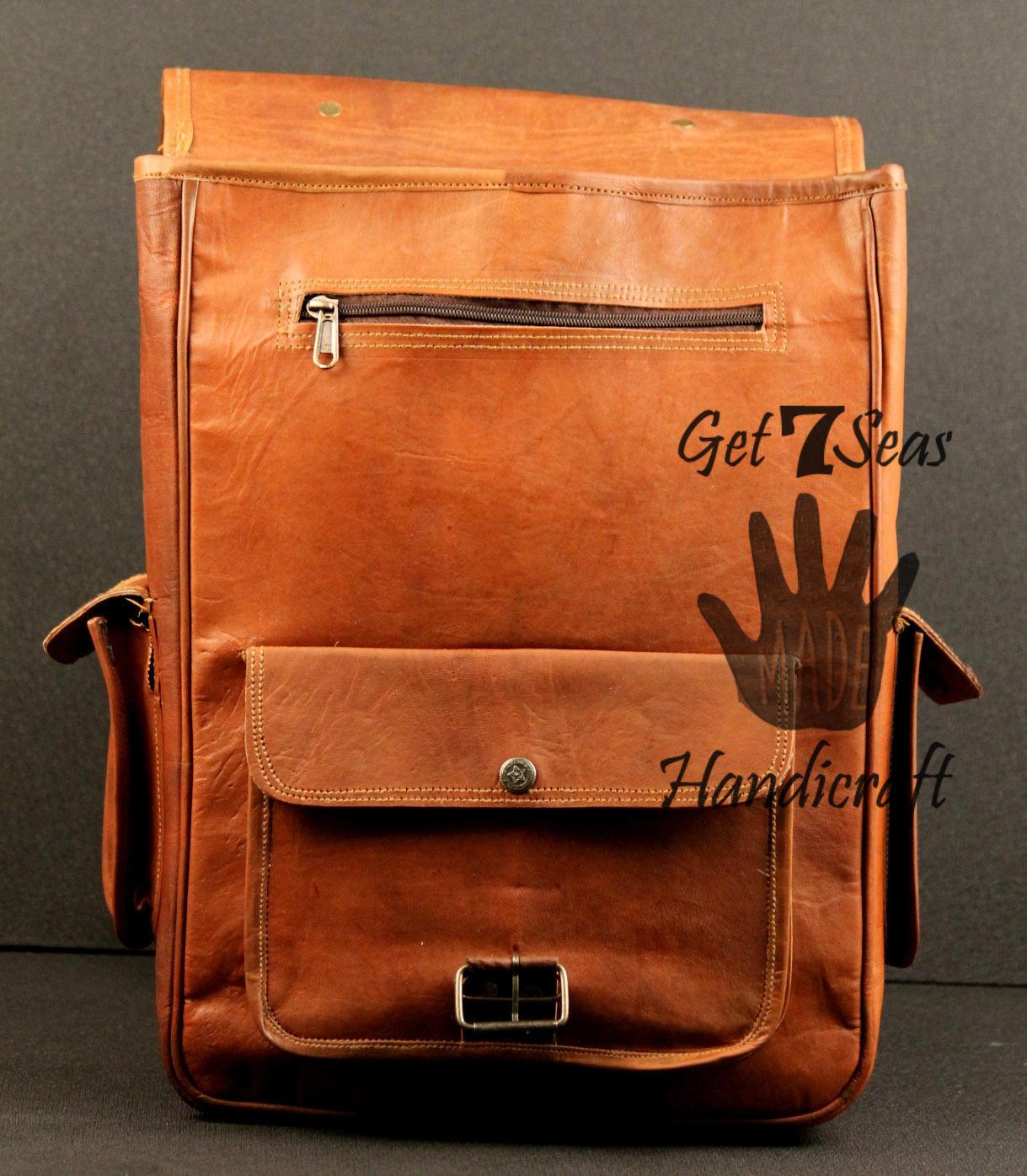 Mens genuine leather vintage laptop backpack rucksack men messenger bag satchel